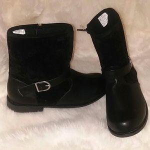 NWT Girls Gymboree Black Boots Size 2 Zipper Closu